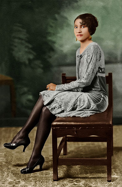 Photo of young lady - restored & colorized